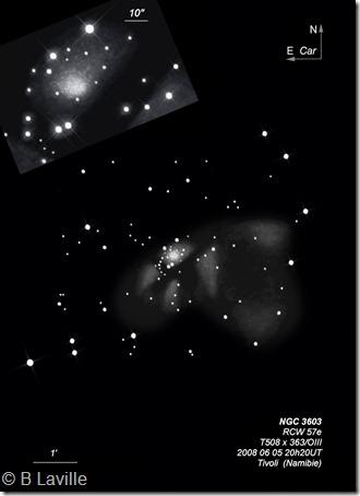 NGC 3603  T508  BL  Tivoli Namibie 2008