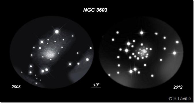 NGC 3603  T508  BL  Tivoli Namibie 2008 vs 2012 OC copy