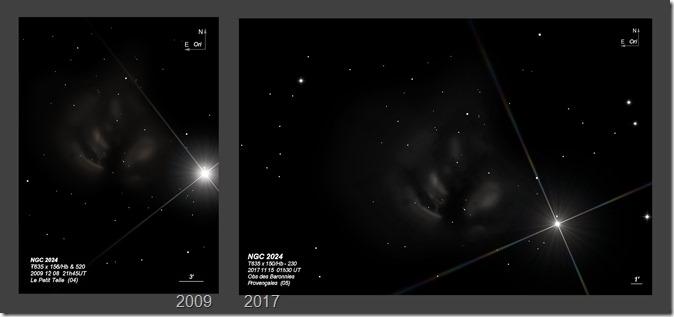 NGC 2024  T635 BL 2009 vs 2017
