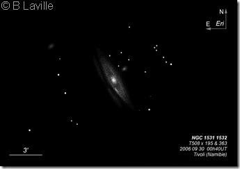 NGC 1531 32  T500  BL  2006 09 30  Namibie Tivoli