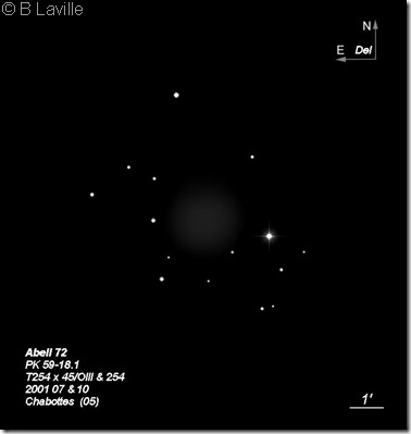 Abell 72 T254  BL 2001 07 & 10