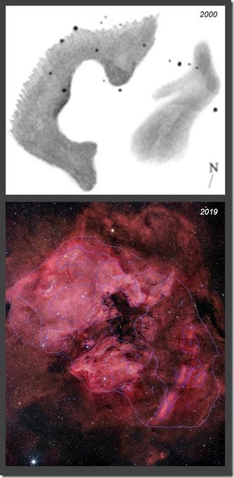 NGC 7000  2000 2019 croquis
