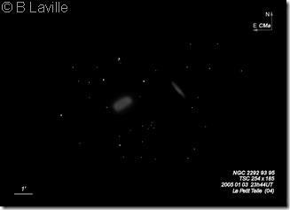 NGC 2292 93 95  BL  T254  2005 01 05  Le Petit Telle