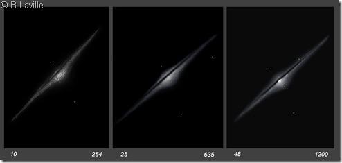NGC 4565  T254 vs T635 vs T1200 2002 2008 2009