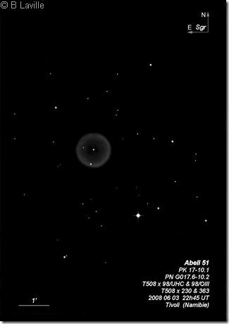 Abell 51  PN G017.6-10.2  T508  BL  Tivoli Namibie