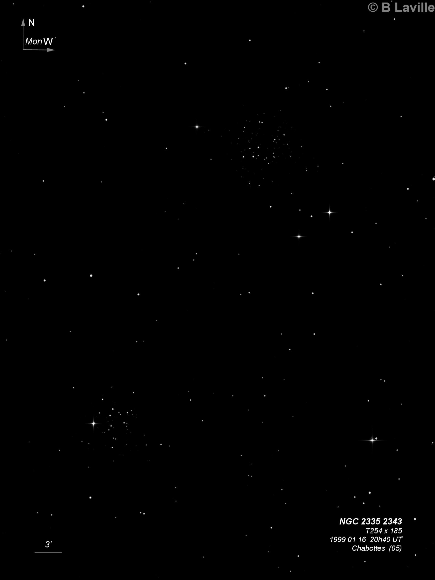 NGC 2335 & NGC 2343 (in Seagull Nebula)