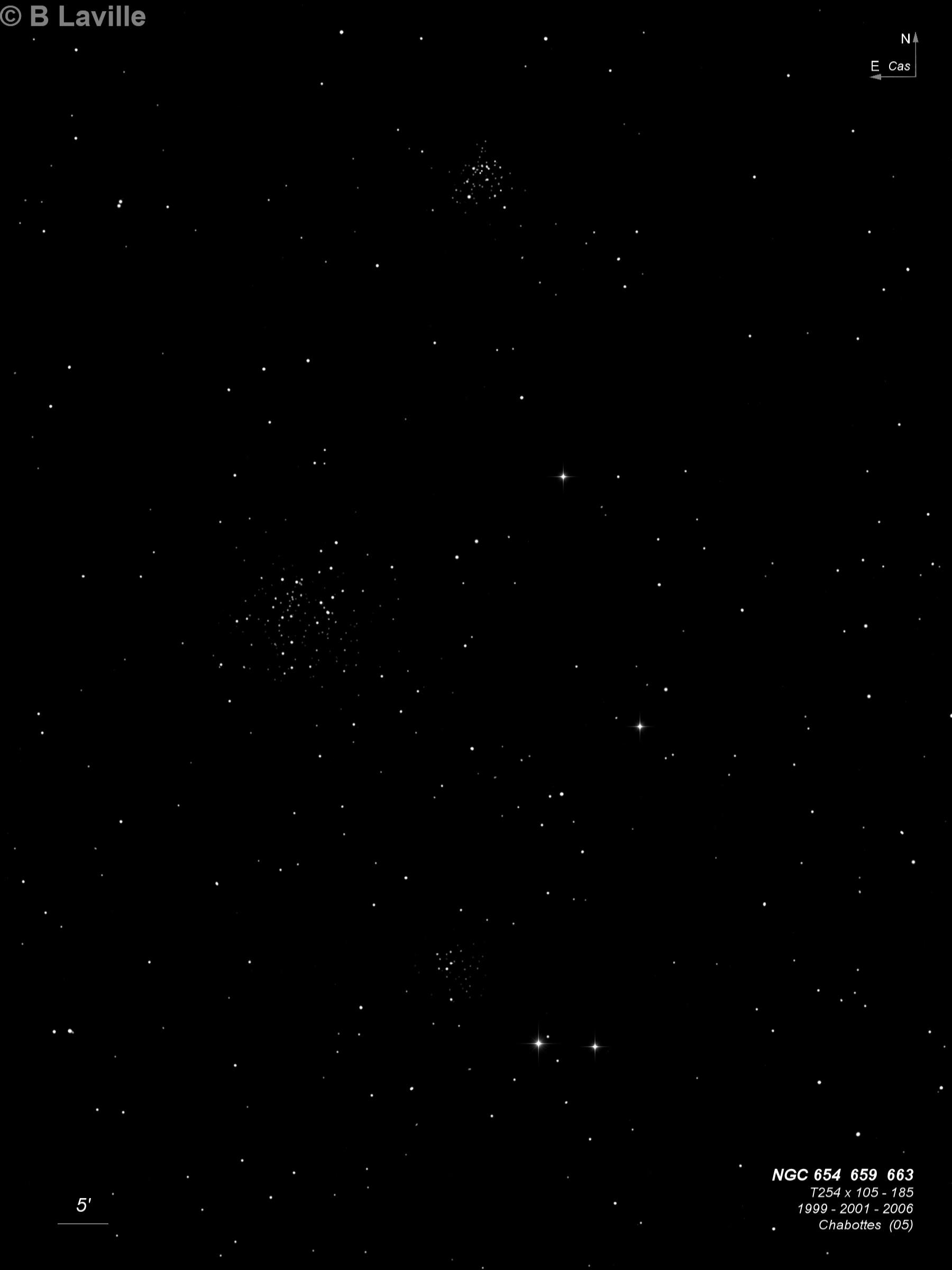 NGC 654 + NGC 659 + NGC 663